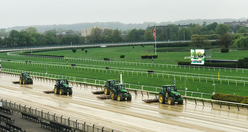 High winds and heavy rainfall forces cancellation of Closing Day Sunday card at Belmont Park