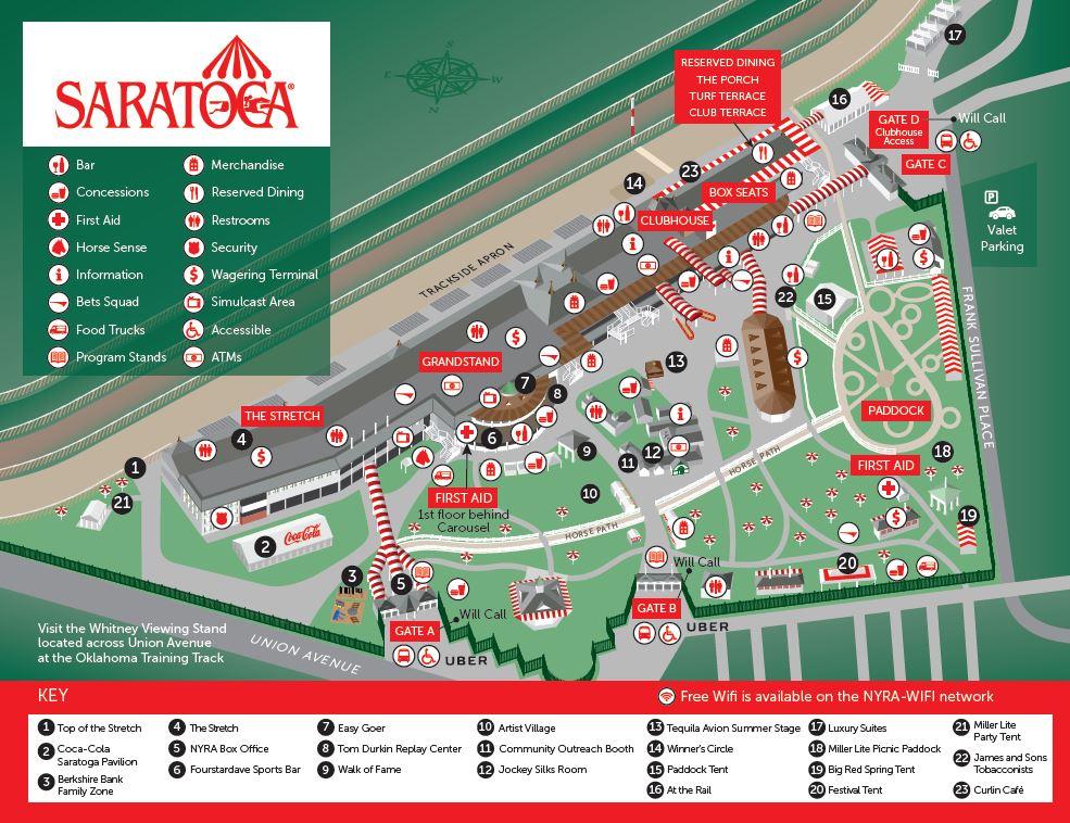 Saratoga Race Track Map Maps & Directions | NYRA Saratoga Race Track Map
